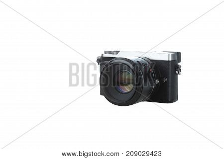 Black compact camera isolated with white background