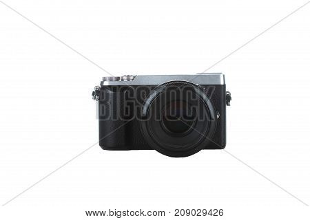 black compact camera isolated with white background shoot from front