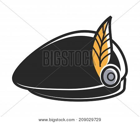 Black beret with bright yellow feather as part of national costume isolated cartoon flat vector illustration on white background. Traditional headdress with small decoration that holds on metal rivet.