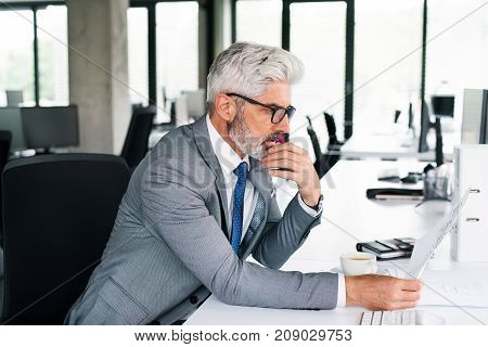 Mature businessman in gray suit sitting at desk in the office. Man reading documents.