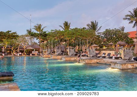 Bali, Indonesia - September 18, 2016: Beautiful tropical resort and spa during sunset time in Bali, Indonesia