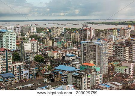 Yangon, Myanmar - September 28, 2016: Old roofs of Yangon buildings, Myanmar. Top view