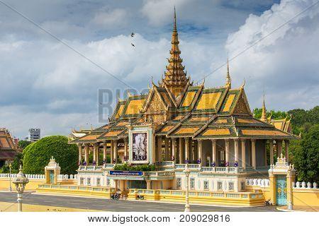 Phnom Pehn, Cambodia - March 31, 2017: Royal Palace in Phnom Pehn, Cambodia
