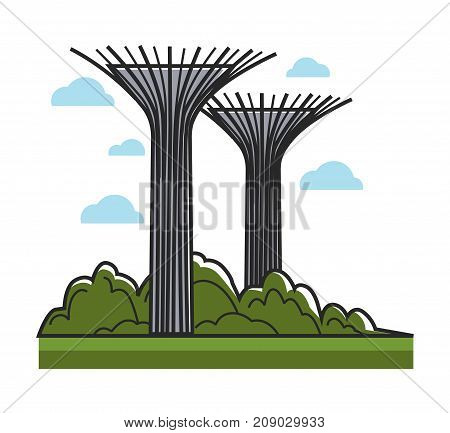 Huge creative towers that symbolize trees with metal branches on top that stick out in all directions, situated among grass and thick bushes isolated cartoon vector illustration on white background.