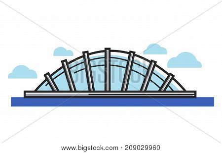 Glass dome situated on water under sky with clouds isolated cartoon flat vector illustration on white background. Creative architectural construction capacious inside and surrounded with sea.