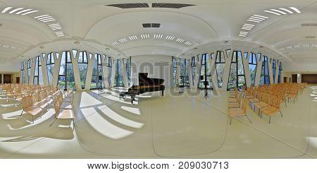 BAJA, HUNGARY - September 29: 360 interior panorama of the Tourist Center Concert Hall with a Petrof grand piano, Baja, Hungary