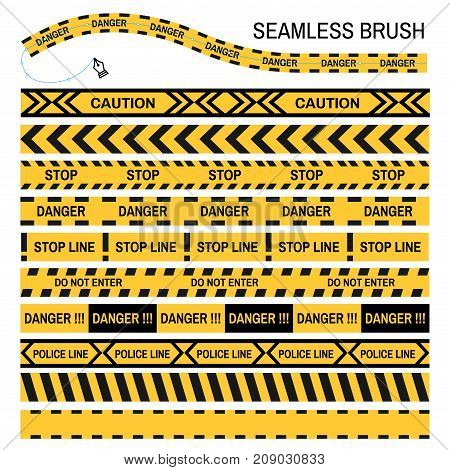 Police yellow tape seamless brush vector template for repeating design. Set of black and yellow caution or stop warning tape or crime danger police tape line sign for designer brush tool