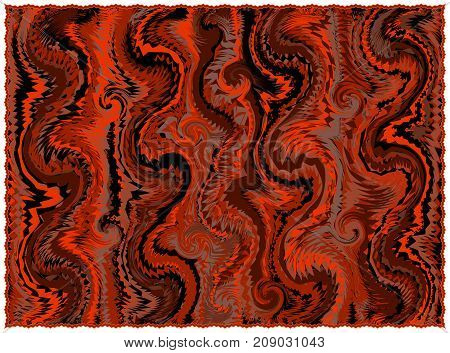 Rug with grunge striped and wavy pattern in orangebrownblack colors with fringe isolated on white