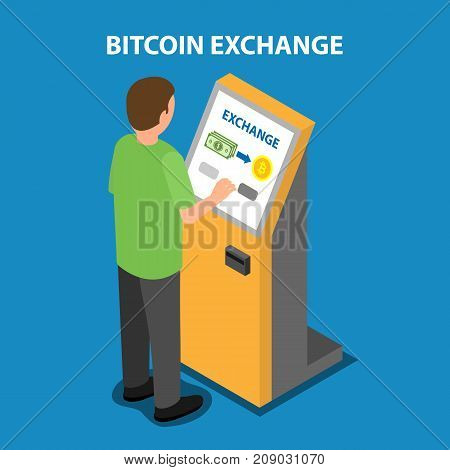 Bitcoin exchange in the payment terminal. Vector isometric illustration.