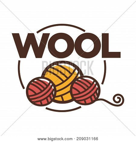 Wool clew label or logo for yarn knitting handicraft or clothing production tag for pure natural sheep wool textile
