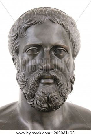 Bronze statue of ancient Greek tragedian Sophocles against white background.