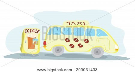 vector illustration of a vehicle cab with a trailer of the coffee machine / hot drink for comfortable road