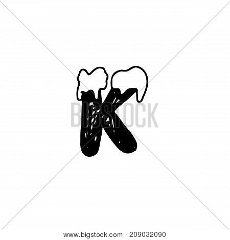 K. Christmas snowy alphabet. Christmas font with snow. Handdrawn lettering. Vector illustration
