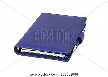 blue diary and pen isolated on and white background
