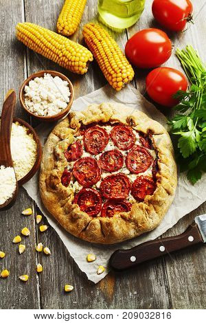 Corn Galette With Cottage Cheese And Tomatoes