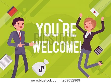 You are welcome. Business motivation poster. Human resources and personnel management, the best candidate, new staff sourcing. Vector flat style cartoon illustration on green background