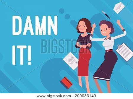 Damn it. Business demotivation poster. Painful failure, poor location and customer service, unqualified employees. Vector flat style cartoon illustration on blue background