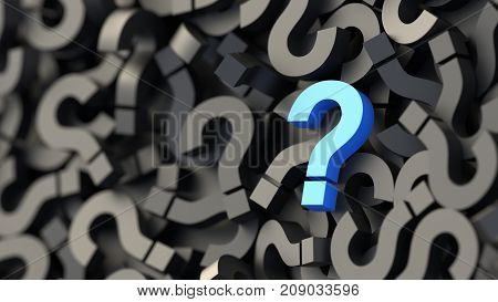 Black And Blue Question Marks Background. 3D Rendering.