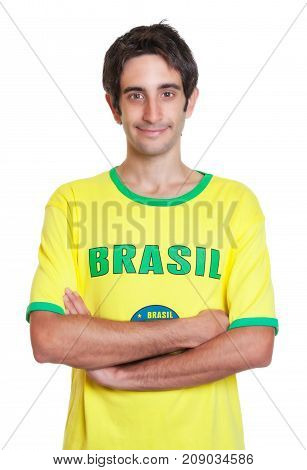 Standing brazilian man with short black hair on an isolated white background for cut out