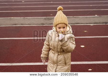 Little 4 year-old girl in a beige woolen hat and warm coat smelling a little yellow flower on a race track.