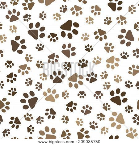 seamless pattern with brown dog and cat footprints