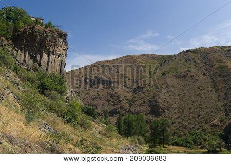 View of mountains landscape in Garni Armenia selective focus.