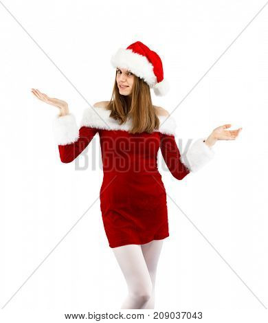 Beautiful woman in Santa Claus clothes on white background