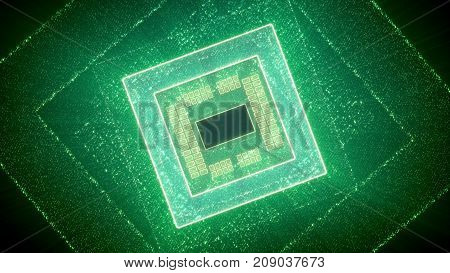 Abstract Square Cpu Virtual Presentation