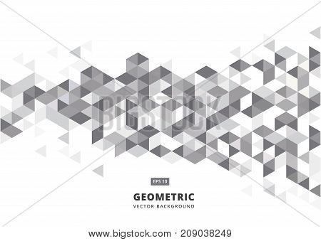 abstract gray geometric background with polygonal triangles cube pattern.Template design with color triangle for brochure leaflet flyer design. Vector Illuatration