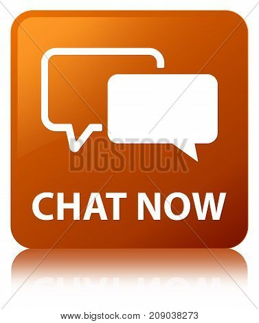 Chat Now Brown Square Button