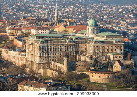 Buda Castle or Royal Palace in Budapest Hungary Lit by Setting Sun