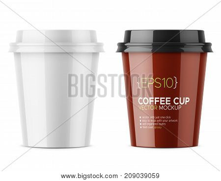 White glossy disposable cup with lid for hot beverage coffee, tea, espresso. 250 ml. Realistic packaging mockup template with sample design. Vector 3d illustration.