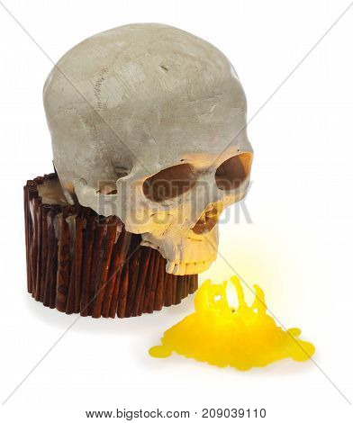 Halloween Human Skull, Skeleton Ghost Head Lit Up With A Yellow Candle.