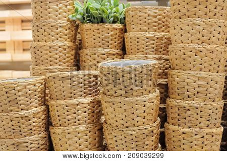Stack of Decorative Storage Basket Made of Water Hyacinth for Storage Compartment.