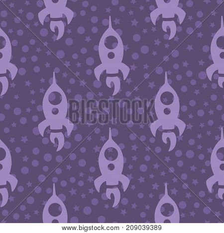 simple children seamless pattern with violet rocket and cycles on a violet background