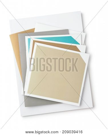 Top view of blank brochures isolated on white