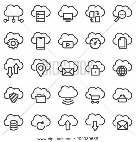 Cloud technology icons. Cloud computing. System administrator