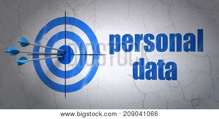 Success Data concept: arrows hitting the center of target, Blue Personal Data on wall background, 3D rendering