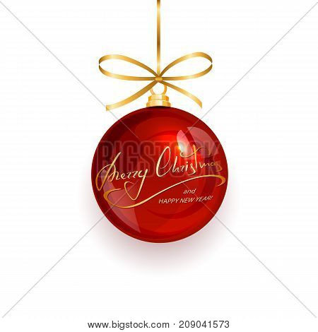 Red Christmas ball with golden lettering Merry Christmas and Happy New Year, isolated on white background, illustration.