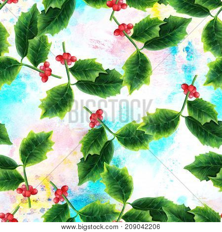 A watercolor seamless pattern of a drawing of a Christmas holly, a festive winter holidays repeat print on a blue and pink brush strokes texture