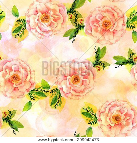 A seamless pattern with a watercolor drawing of a blooming pink rose with green branches and leaves, with pastel brush strokes, faded and toned