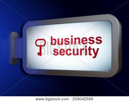 Safety concept: Business Security and Key on advertising billboard background, 3D rendering