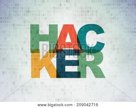 Safety concept: Painted multicolor text Hacker on Digital Data Paper background