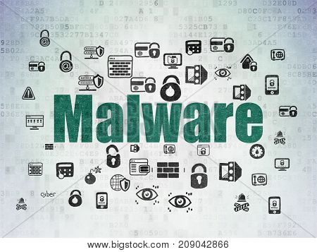 Security concept: Painted green text Malware on Digital Data Paper background with  Hand Drawn Security Icons
