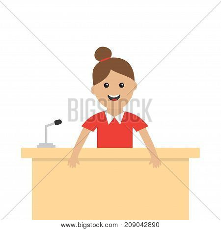 Women female girl people consultant. Table Information desk counter microphone. Reception service. Info support. Cute cartoon character. Flat design White background Vector