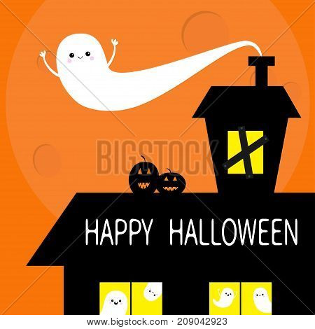 Happy Halloween. Haunted house roof attic loft. Flying ghost. Two pumpkin smiling face. Light on boarded-up windows. Big moon. Funny cartoon character Orange background Flat design Vector illustration