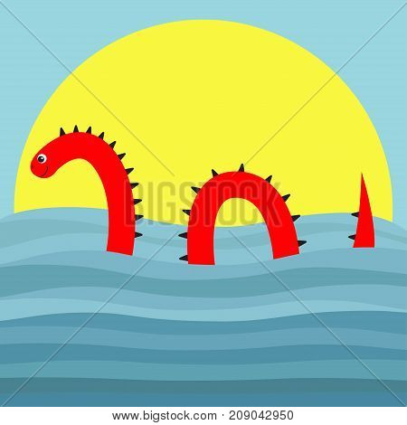 Water monster with thorns eye tail Swimming floating Sea ocean wave sunset. Snake shape. Loch Ness Nessy fictional creature. Cute cartoon character. Baby collection. Flat Blue background sun. Vector