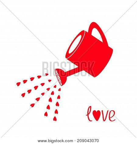 Red watering can with red hearts water drops. Love greeting card. Happy Valentines Day sign symbol. Flat design. White background. Isolated. Vector illustration.