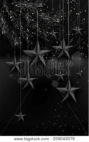 Cutout Black Foil paper Stars and black fur tree with falling snow on dark Background. Elegant Christmas Greeting Card or poster Template design. Vector Illustration.