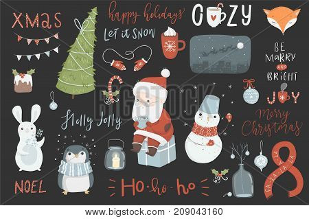 Christmas set, hand drawn style - calligraphy, lettering, animals and other elements. Vector illustration.
